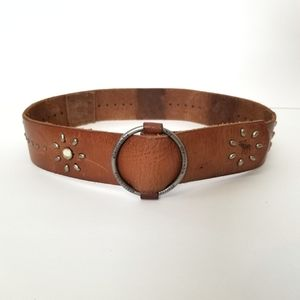 Abercrombie Studded Brown Leather Belt L/XL
